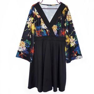 Shein Wide Sleeve Deep V-Neck Dress Floral Black